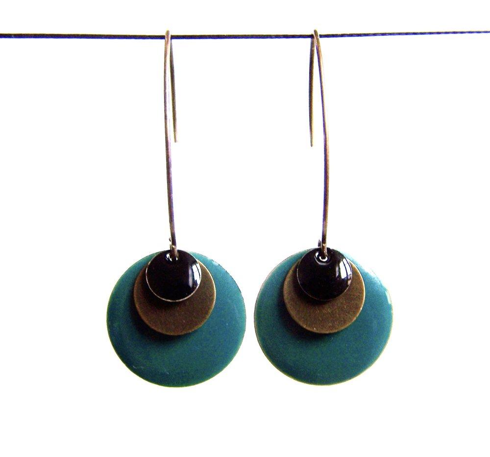 Boucles d'oreilles bicolores sequin émaillé bleu canard et noir