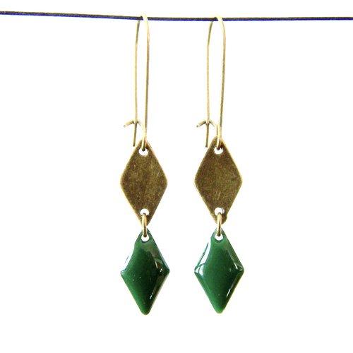Boucles d'oreille losange bronze et losange émaillé vert foncé