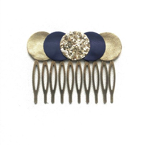 Peigne, grand modèle, rond, cuir, doré, or, bleu foncé, glitter, bronze, cadeau femme, chic, tendance, graphique, personnalisable, boho