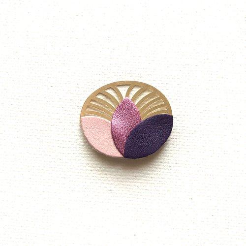 Broche, éventail, pétale, cuir, doré, rose, violet, métallisé, accessoire, vêtement, cadeau femme, art déco, lotus, personnalisable