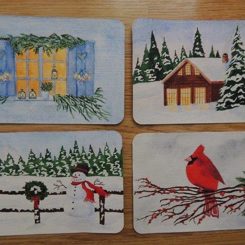 Lot de 4 cartes de noël peintes à l'aquarelle   Un grand marché