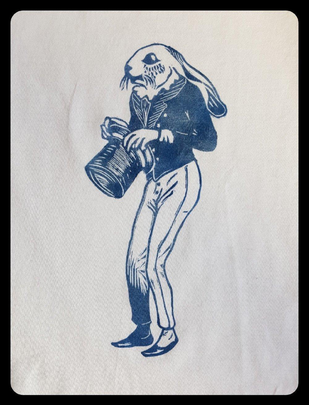 """t-shirt blanc linogravure """"lapin rétro"""" imprimé manuellement"""