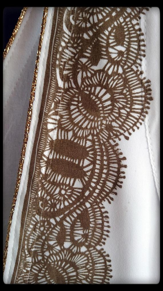 """robe linogravure 'dentelle"""" imprimée manuellement"""