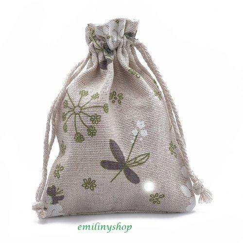 Lot 5 pochettes sacs organza toile jute 14 x 10 cm cadeaux mariage bapt  bijoux