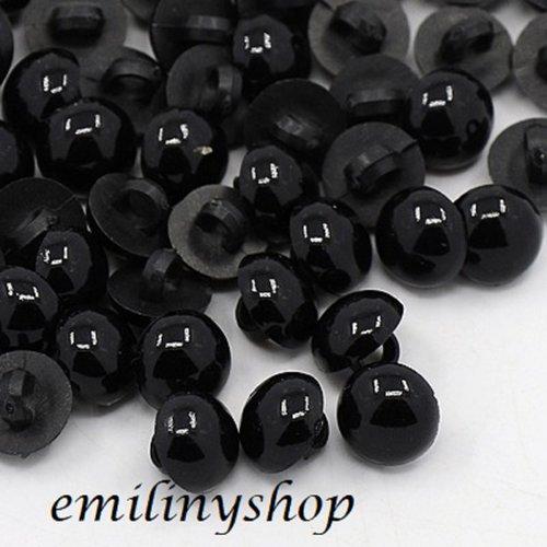 """Lot de 20 boutons dome """"demi perle"""" noir 12 mm neuf"""