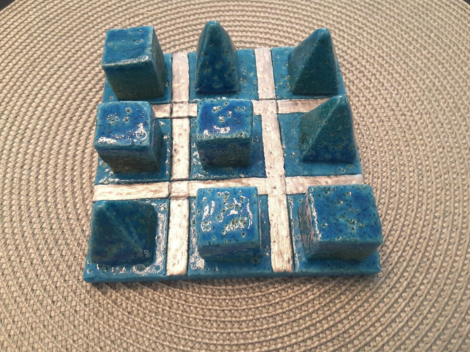 JEU DE MORPIONS EN CÉRAMIQUE turquoise pierres cubiques et pyramides