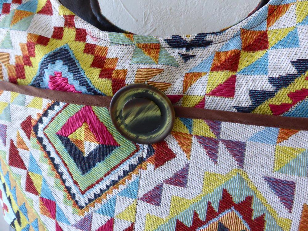 Sac à main femme, tissus multicolore ethnique, fait main en France