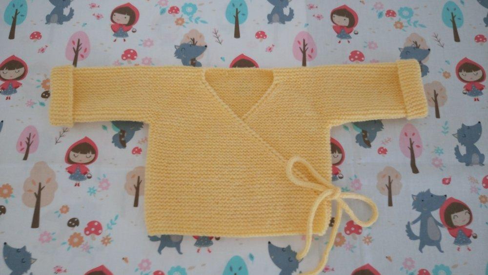 Brassière cache-coeur layette bébé fille ou garçon coloris jaune taille naissance, 1 mois ou 3 mois