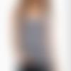 Top grossesse femme enceinte cache-coeur rayé écru/marine fiona tank envie de fraise taille 42/44