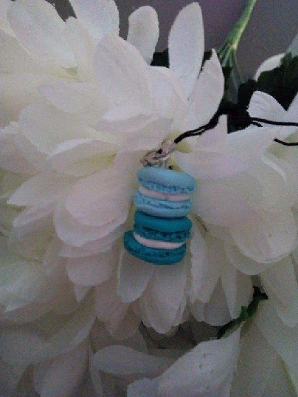 Porte clès macarons bleu