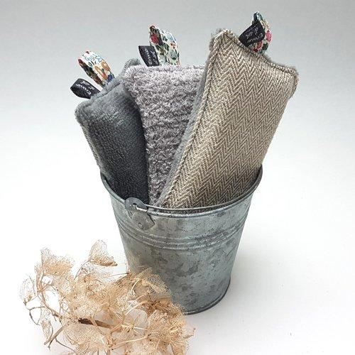 Lot de 3 éponges lavables, mousse végétale et tissu éponge oekotex® coton, bambou et lin , pour cuisine et salle de bain, 3 modèles