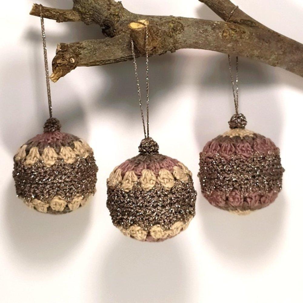 Lot de 3 boules de Noël au crochet