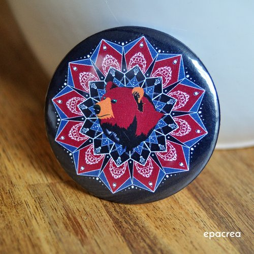 Badge 2,5cm ours : force tranquille