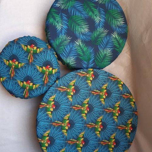 Charlottes alimentaires, couvre plat, coton, feuillages et perroquets, lot de 3