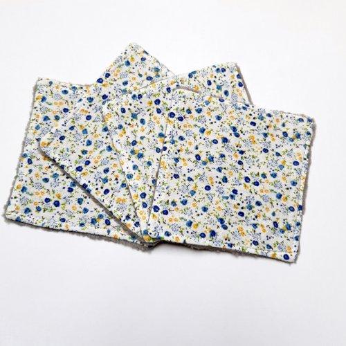 Lingettes lavables, réutilisables, démaquillantes,  liberty bleu et jaune, lot de 4, coton, bambou