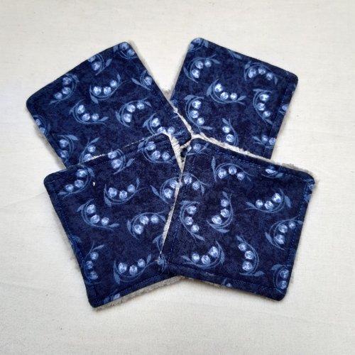 Lingettes lavables, réutilisables, pour les yeux, motifs fleurs de muguet, bleu nuit, bambou, lot de 4