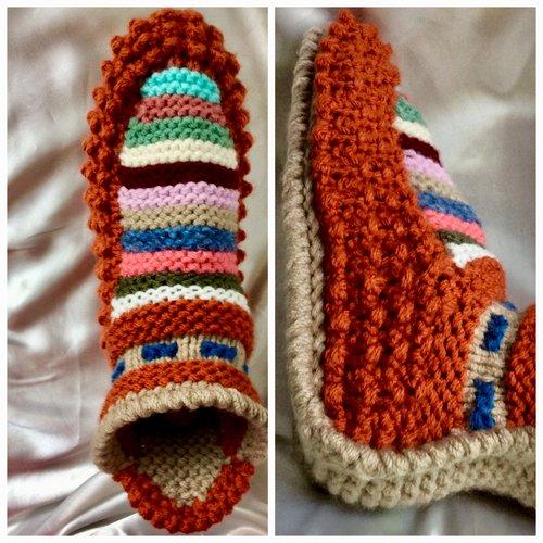 Chic chaussons -bottines en tricot fait main ,semelles doux,pour femme,fille,homme