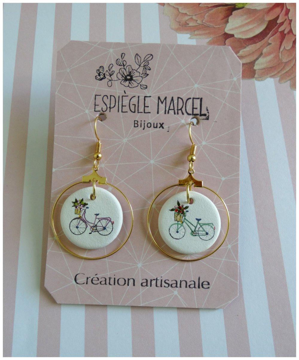 Boucles d'oreilles en céramique - A bicyclettes.