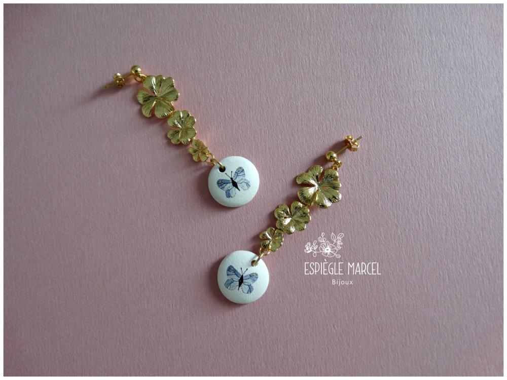 Boucles d'oreilles en céramique - Papillons.
