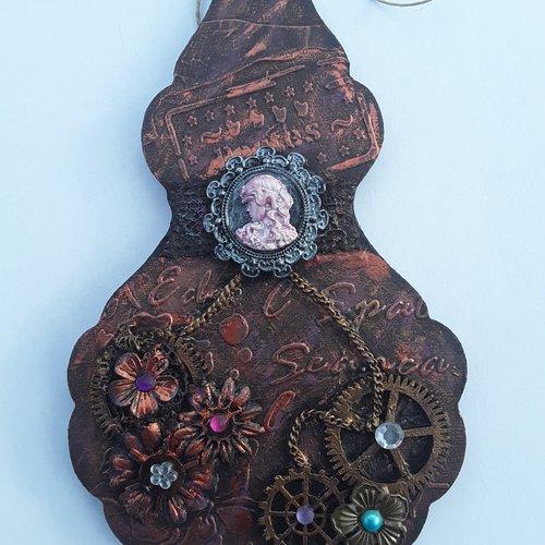 Pampille bois steampunk bronze