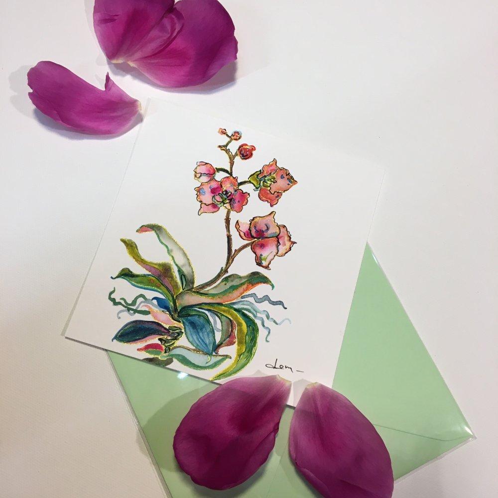 Carte aquarelle carrée 13 cm avec son enveloppe assortie pièce unique