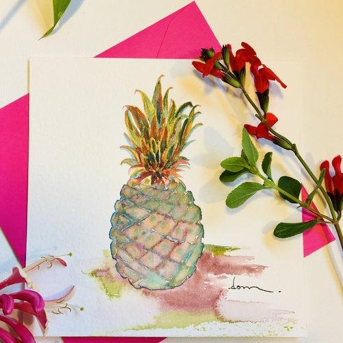 Ananas carte aquarelle carrée 13.5 avec son enveloppe assortie pièce unique