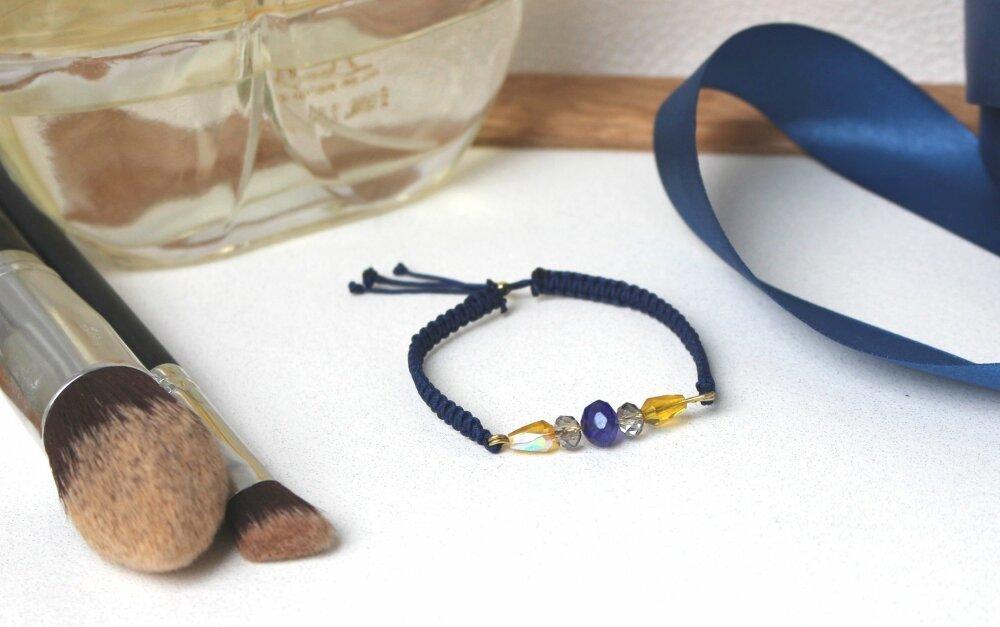 Bracelet bleu et jaune Jessie, bracelet tressé minimaliste, coton et perles, bracelet réglable, cadeau femme, bracelet Hippie Boho, cristal