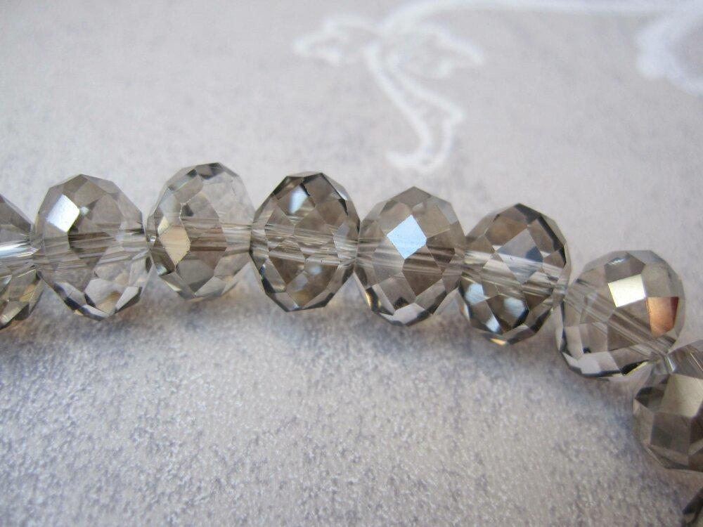 Bracelet gris fumé Cristal Collection 'Petits plaisirs', bracelet perles, cadeau femme, bijou cristal gris
