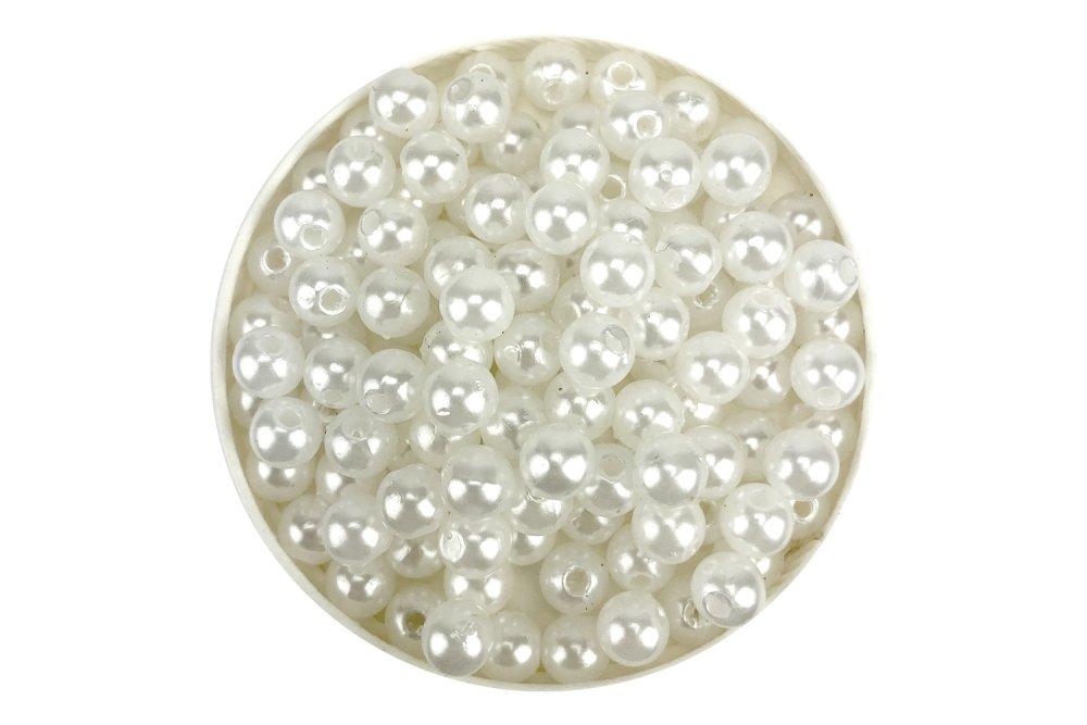 Perles nacrées blanc neige acrylique 4,6 et 8 mm