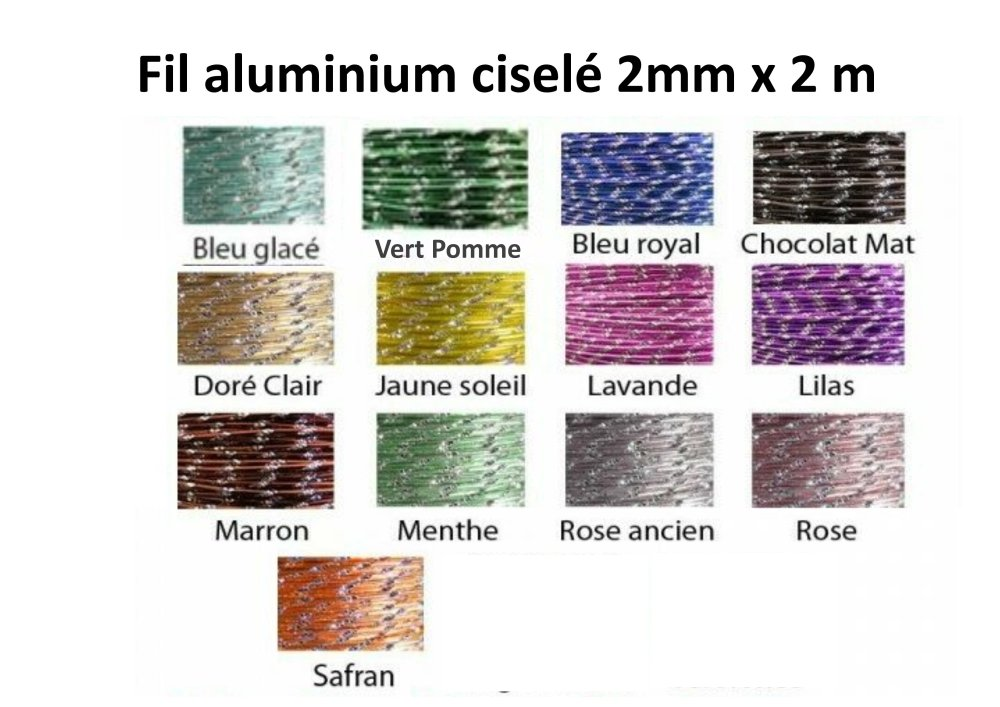 Lot de Fils aluminium ciselés 2 mm par 2 mètres LOT de 4