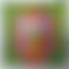Petite coupelle carrée en papier maché - fait main - décor statue de la liberté fluo rose et verte