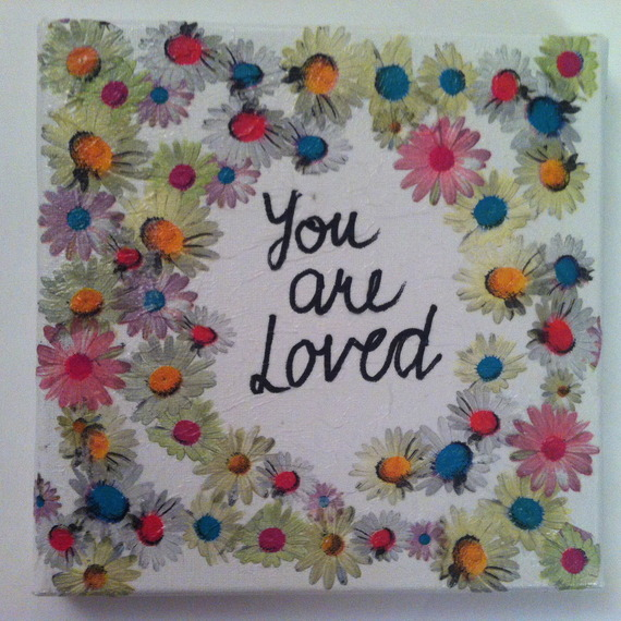 """Collage """"you are loved"""" sur toile"""