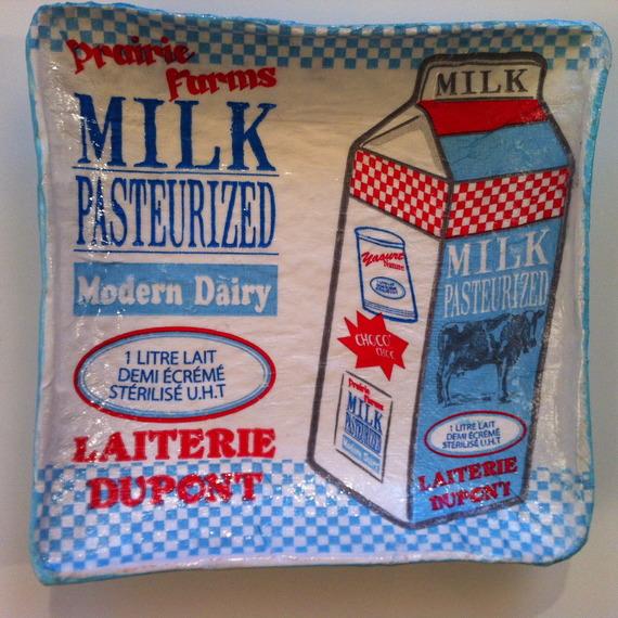 Coupelle carrée en papier maché - Fait main - Décor publicité américaine bouteille de lait (milk pasteurized)