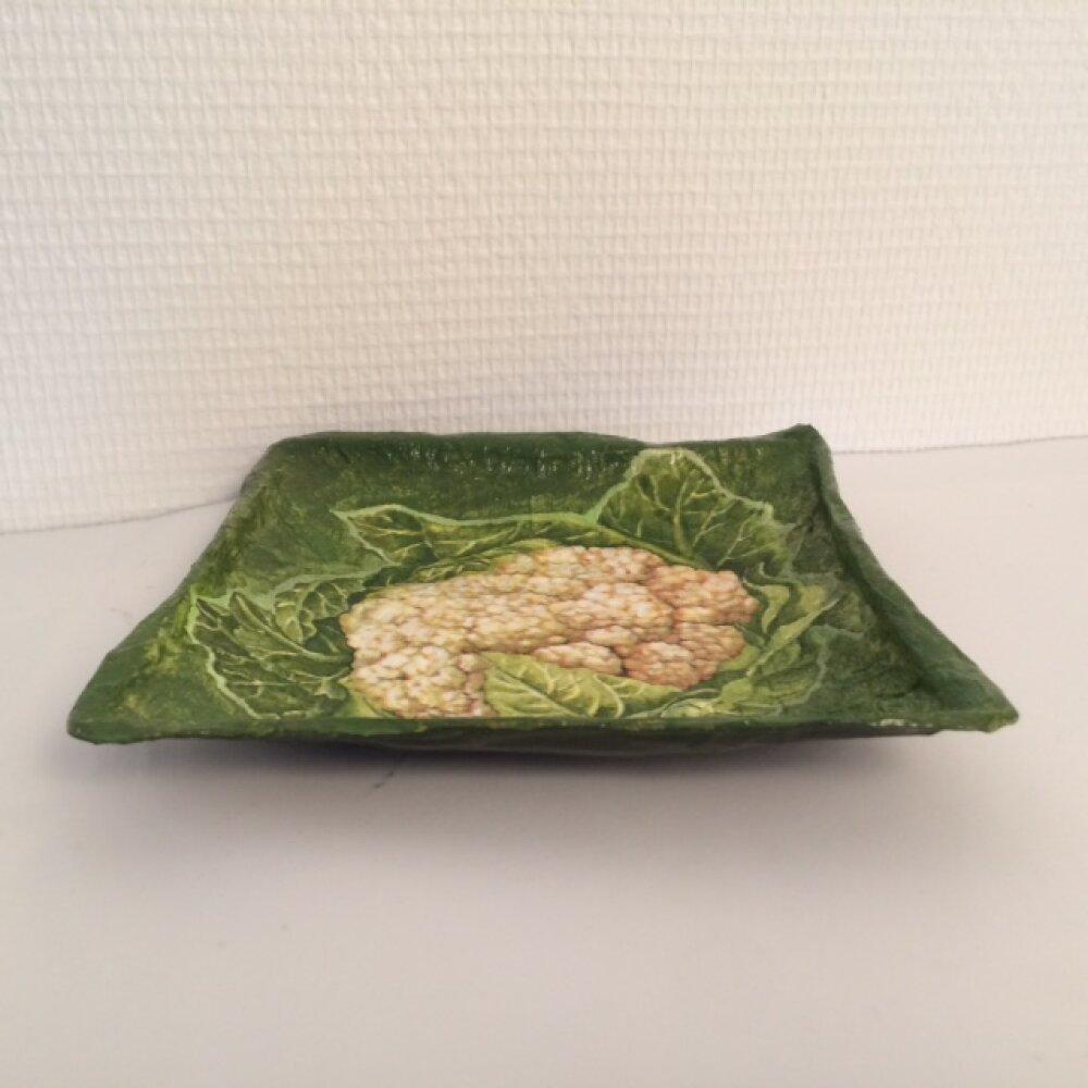 Petite coupelle carrée en papier maché - Fait main - Décor gros chou-fleur