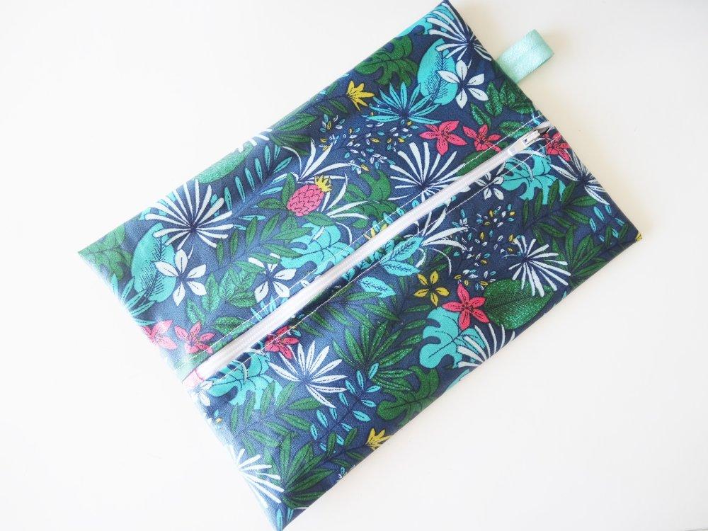 Pochette de maquillage en coton enduit tropical