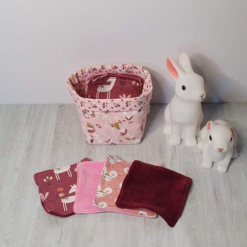 Corbeille avec cotons lavables