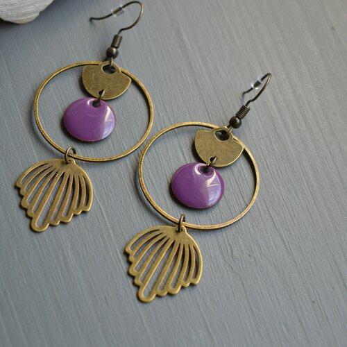 Boucles d'oreilles art déco violette