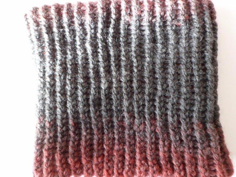 Snood-tour de cou enfant rouge et gris fumé
