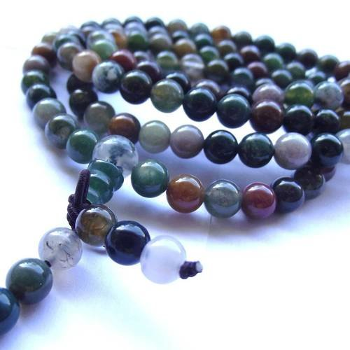 1 fil perles 6 mm agate ronde collier bouddhiste