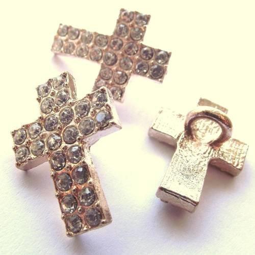 1 croix 2 cm breloque connecteur passant strass métal doré