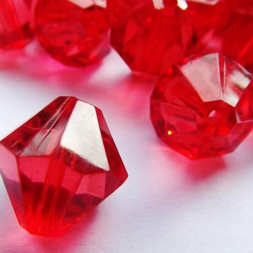 10 perles 14 mm facette bicone acrylique translucide rouge