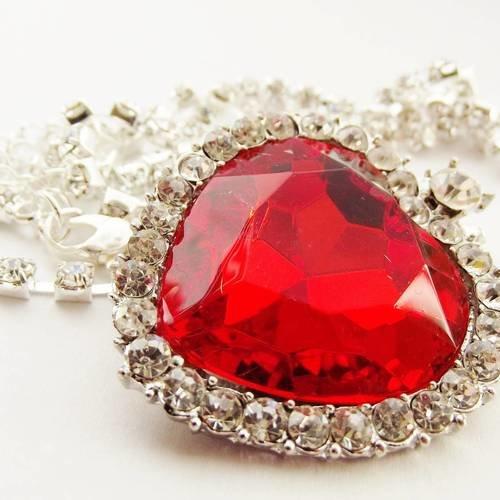 1 breloque 4 cm cœur rouge + chaîne strass argenté