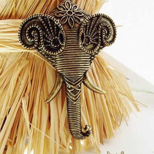 1 breloque 85 mm éléphant ethnique + chaîne métal bronze