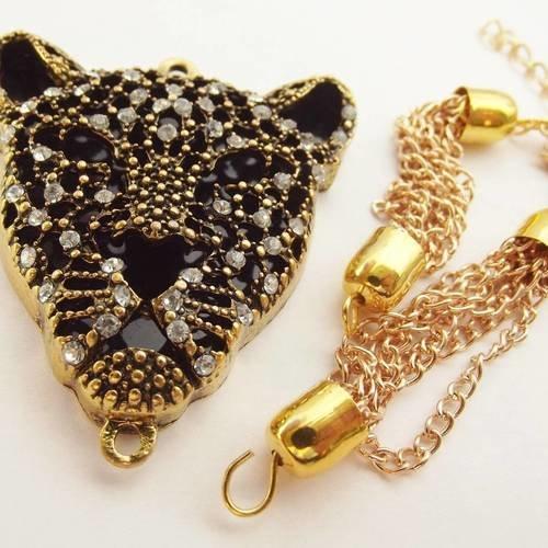 1 connecteur breloque 50 mm tête léopard strass métal doré