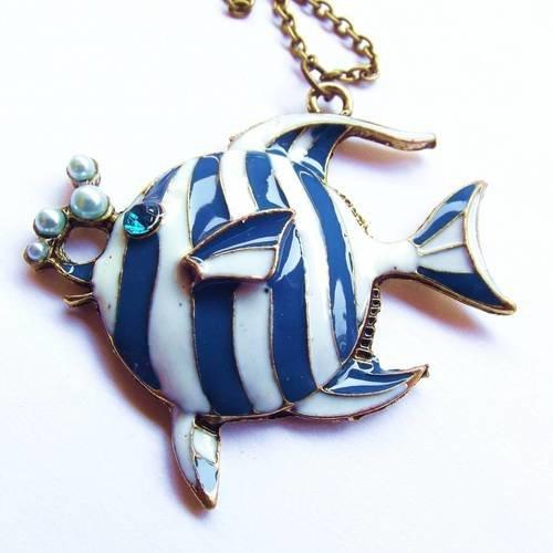 1 breloque 5 cm poisson bronze émail bleu blanc
