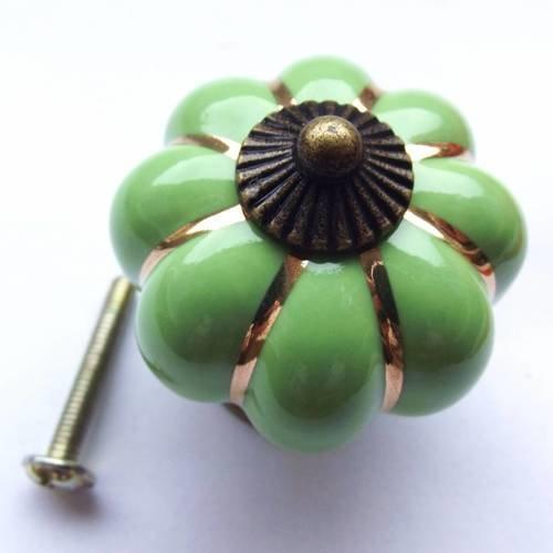 1 bouton poignée de porte 4x4 cm céramique vert bronze rond