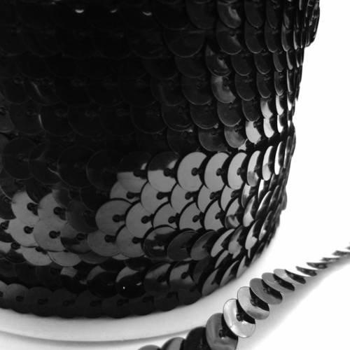 X1 mètre ruban paillette sequin 6 mm noir