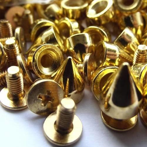 10 rivets spikes pointe cône et clou vis cruciforme 9,5 mm métal doré