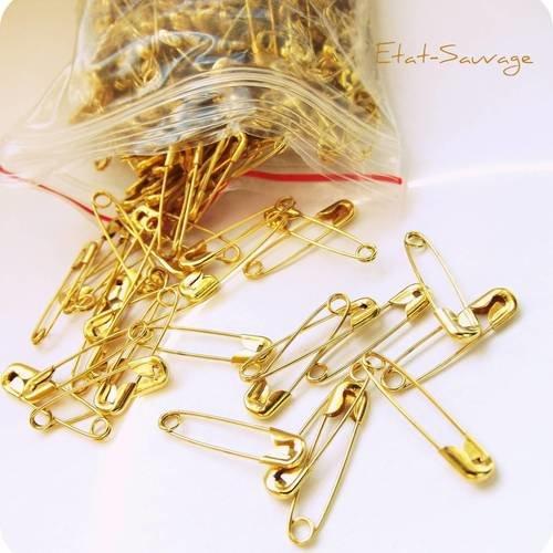 10 épingles à nourrice 19 mm métal doré pour création couture,scrapbooking, bijoux ...