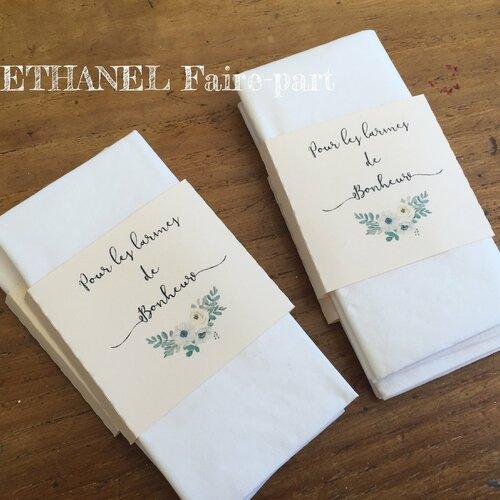 Etiquette mouchoirs mariage , pochette mouchoir,